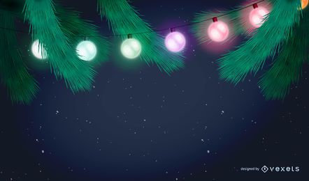 Fundo de festão de luzes de Natal