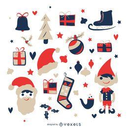 Conjunto de ilustración de elementos de Navidad