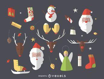 Colección de iconos de elementos de Navidad plana