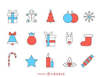 Simple Christmas stroke icon set