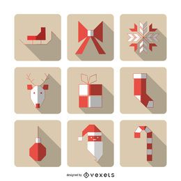Geometric Christmas icons with shadows