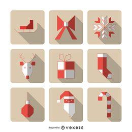 Iconos geométricos de Navidad con sombras