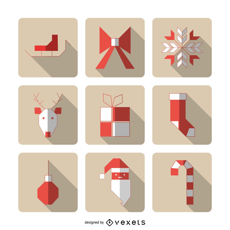 Geometric Christmas icons with shadows