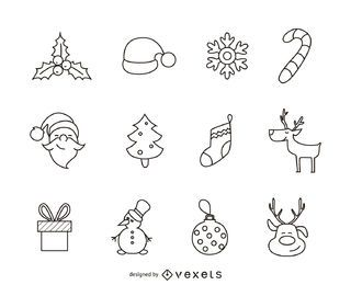 12 Christmas icon outline set
