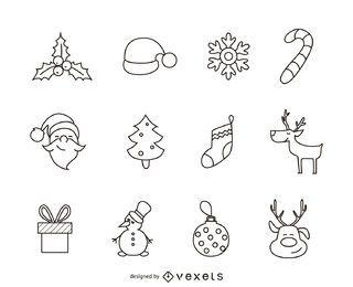 Conjunto de 12 iconos de Navidad