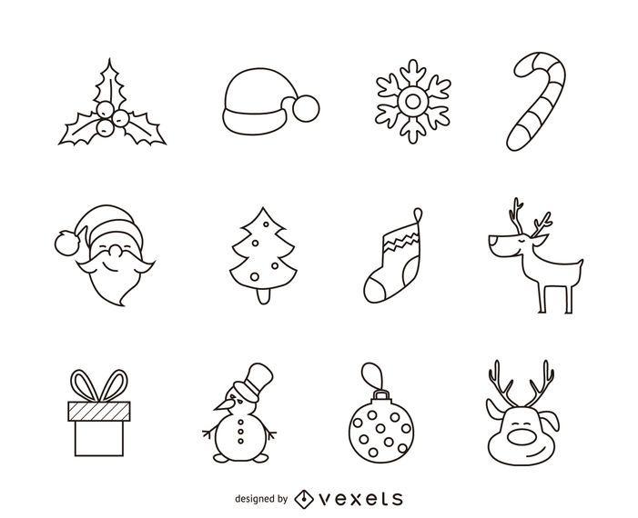 12 conjunto de contorno de ícone de Natal