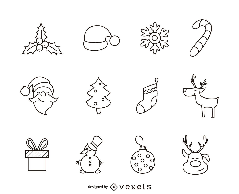 12 conjunto de contorno de iconos de Navidad