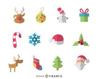 Conjunto de iconos de elementos de Navidad plana o paquete