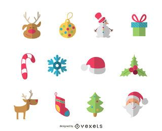 Flat Christmas elements icon set or pack