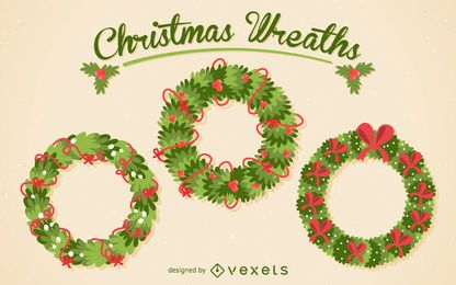 Christmas wreath illustration pack