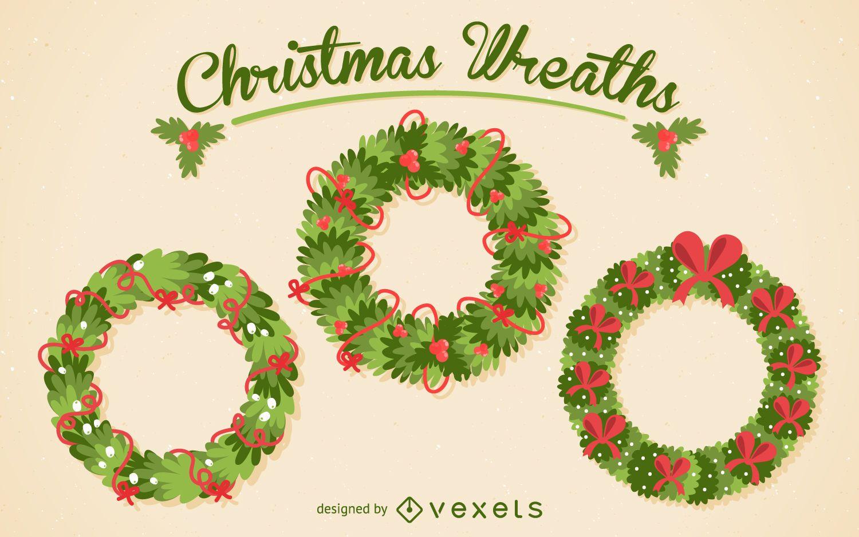 Christmas wreath illustration pack