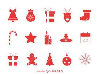 Clásico conjunto de iconos de Navidad rojo