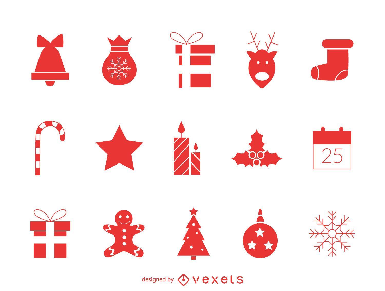Conjunto de iconos de Navidad rojo clásico