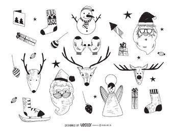 Colección de elementos navideños dibujados.
