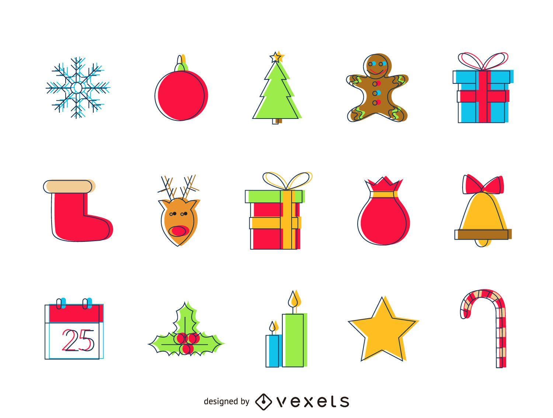 Conjunto de iconos de efecto de compensación de Navidad