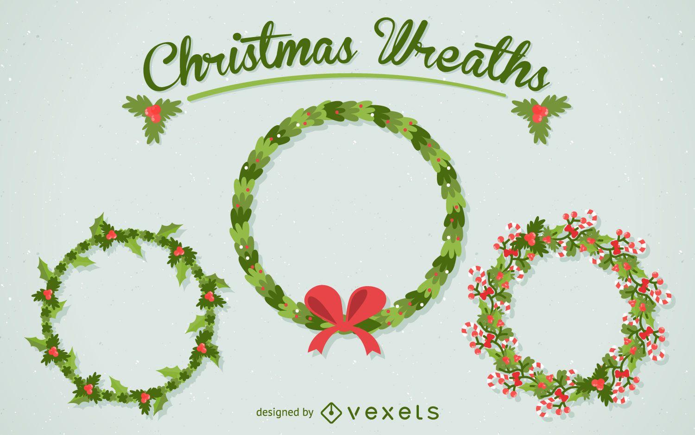 Flat Christmas wreath illustration set