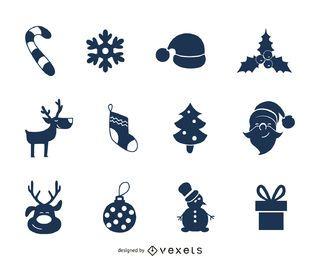 Conjunto de iconos de Navidad azul