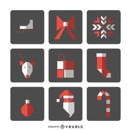Conjunto de iconos de Navidad cuadrado