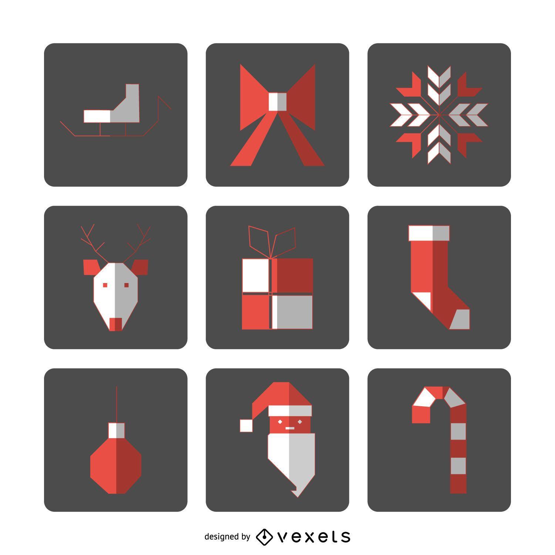Square Christmas icon set