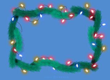 Las luces de Navidad marco de pino guirnalda
