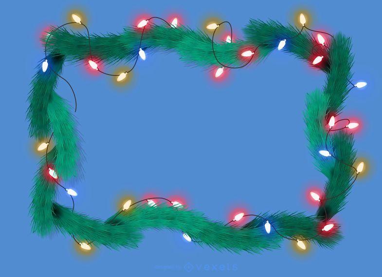 Luces de navidad con marco de pino guirnalda.
