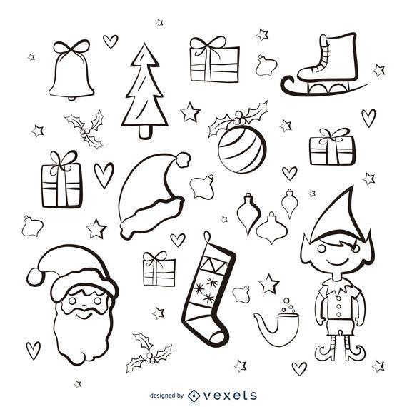 Elementos de Natal pintar conjunto de traçado