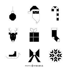 Conjunto de iconos geométricos de Navidad en blanco y negro