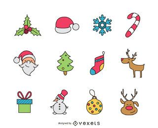 Colorful Christmas icon set