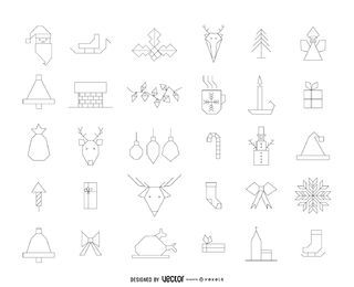 Geometric Christmas icon outlines pack