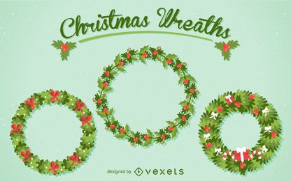 3 Christmas wreath illustration set