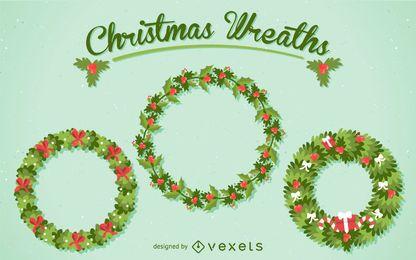 3 conjunto de ilustração de grinalda de Natal
