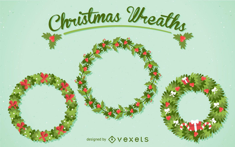 3 Christmas wreath illustration set