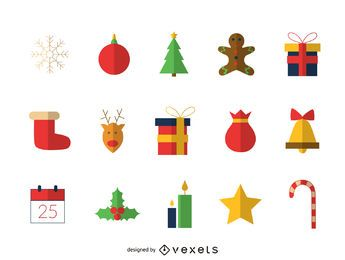 Flat Christmas elements icon set