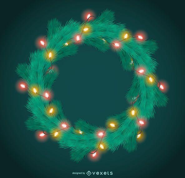 Christmas garland with lights frame