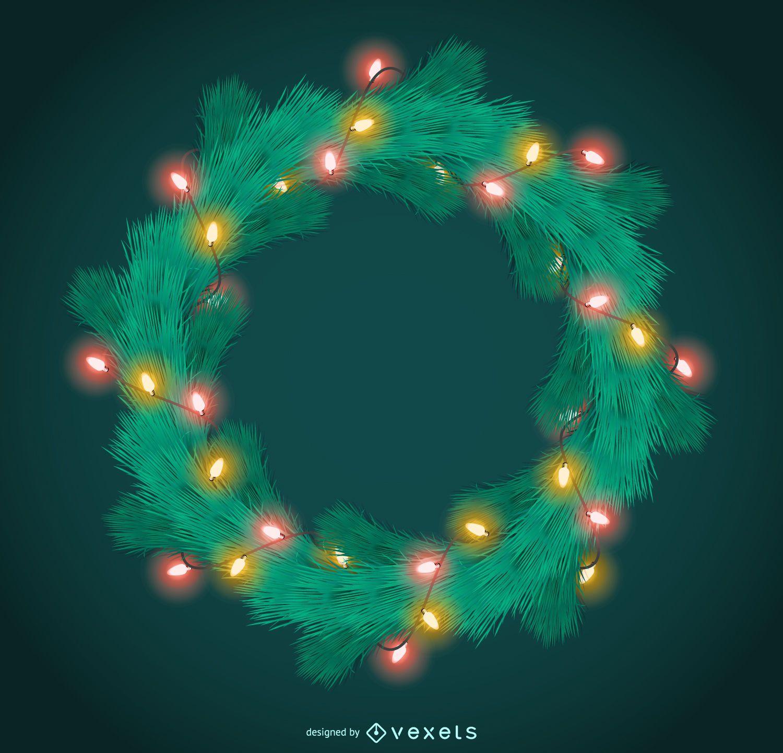 Guirnalda navideña con marco de luces