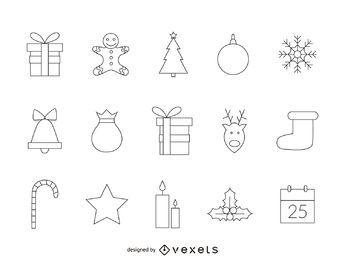 Conjunto de iconos de Navidad geométrica
