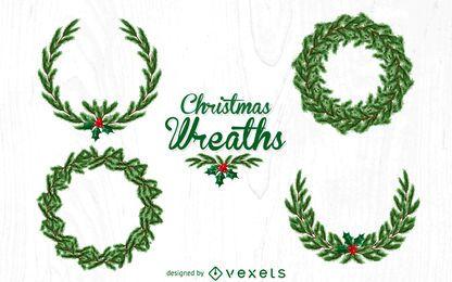 Conjunto de coroa de pinheiros de Natal