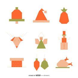Natal, elementos, ícone, jogo