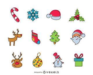 Offset Christmas icon set