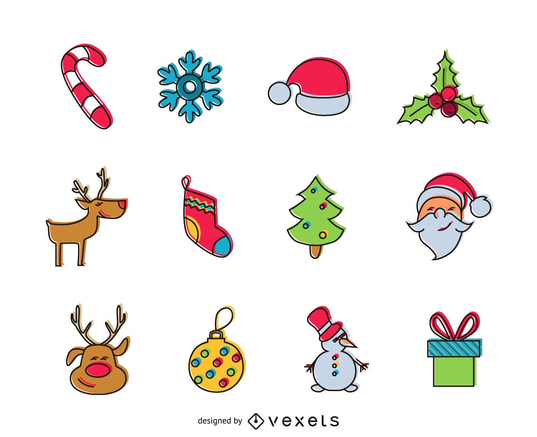 Conjunto de iconos de Navidad offset