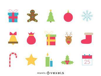 Conjunto de iconos de Navidad festivo