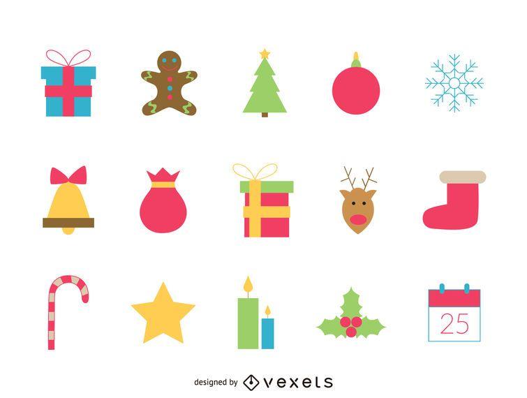 Conjunto de ícones festivos de Natal