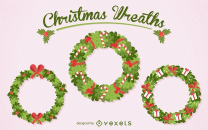 Flat Christmas wreath set