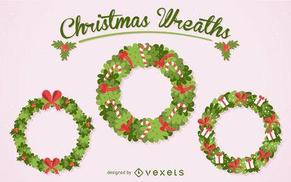 Flat Christmas wreath set