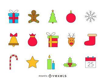 Conjunto de ícones de Natal desenhado