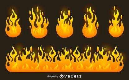 Conjunto de ilustración de llama de fuego