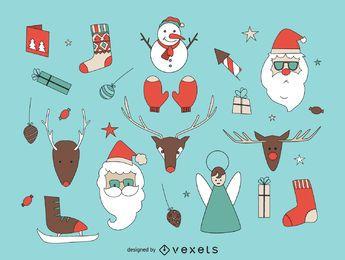 Conjunto de elementos de Natal de mão desenhada