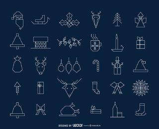 Coleção de ícone de Natal geométrica