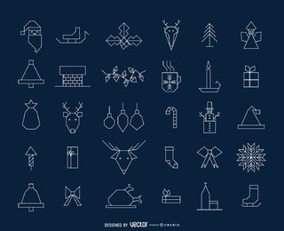 Geometric Christmas icon collection