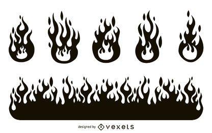 Conjunto de silueta de llama de fuego